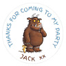 48 Personalised Party Bag Stickers Gruffalo Sweet Bag Seals 40mm Labels