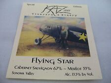 Wine Label: KAZ Vineyard & Winery 2001 Flying Star Cabernet Sauvignon & Merlot