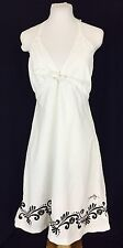 Seafolly Embroidered Halter Sundress. White Linen. Size 10. Perfect.