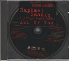 Raphael Saadiq Ask Of You PROMO MUSIC AUDIO CD Edit Album Instrumental Tony Toni