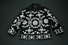 Anna Sui Black Silver Lavender Embroidery Jacket Blazer Size 6