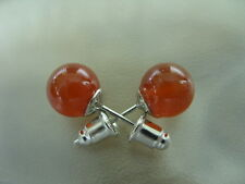 Rote 8 mm Achat Edelstein Ohrstecker Ohrringe Earrings 8 mm Kugel