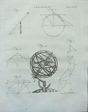 1797 GEORGIAN PRINT ~ CELESTIAL GLOBE & DIAGRAMS ~ ASTRONOMY GEOGRAPHY