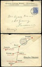 GERMANY SWITZERLAND ITALY 1909 ADVERTISING HOTELS ENVELOPE