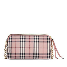 Burberry Overdyed Horseferry Check Leather Clutch - Ash Rose/Dusty Pink