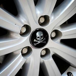 4X Cross Bone Skull Car Badge Emblem Wheel Tire Center Hub Cap Cover Sticker