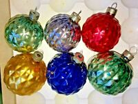 Vintage Shiny Brite Mercury Glass Faceted Diamond Bumpy Ball Ornaments HTF