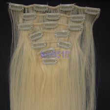 7PCS Full Head Clip In Remy Human Hair Extensions Straight #613 Light Blonde
