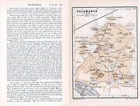 Salamanca 1908 peq. mapa ciudad orig. + guía fr. (9 p.) San Martin Universidad