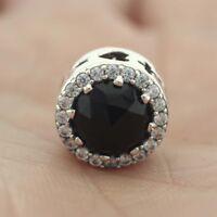 925 Sterling Silver Disne Evil Queen's Black Magic Charm Black Crystals Clear CZ
