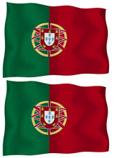 Portugal FLAG VINYL BUMPER STICKER DECAL set of 2(4x2.8 Inches) Waiving Flag