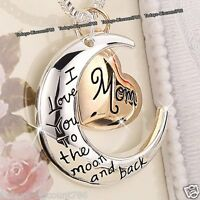 Rose Gold Heart & Moon Mom Necklaces Silver Xmas Gifts For Her Mum Mother Women