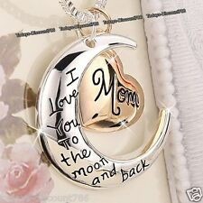 Or Rose Coeur & Lune Maman Collier Argent Cadeaux De Noël Pour Elle Mère Femmes