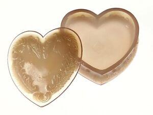 PINK Covered HEART BOX  Boyd's Crystal Art Glass Degenhart 1983-1988 NOS