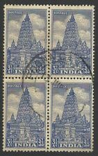 India 1949 Archaeological 3 1/2a used block of 4