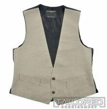FAVOURBROOK Black White Houndstooth 100% Silk Mens Suit Tuxedo Vest - 38