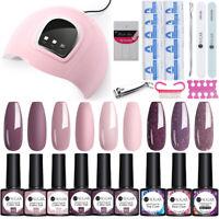 UR SUGAR Glitter Nude Nail UV Gel Polish 54W Nail Dryer Lamp Brush Stickers Kit