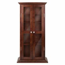 Walnut Finish Wooden Media Cabinet 5 Shelf CD DVD Storage Tower Glass Door Stand