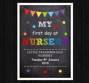 PERSONALISED FIRST DAY AT NURSERY PRINT A4 BACK TO PRE SCHOOL CHALK PRINT a4m
