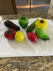 Blown Glass Fruit And Veggies 8 Pieces