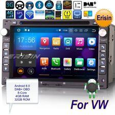 Autoradio Android 8.0 For VW PASSAT PEUGEOT GOLF MK4 T5 LEON DAB+ DVD GPS 7886IT