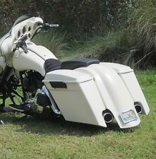 """Fiberglass Stretched 6"""" Harley SaddleBags,Rear overlay dual exhaust cutout 97-08"""
