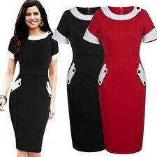 Women's Stretch, Bodycon Short Sleeve Business Knee Length Dresses