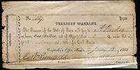 1862 $1 ONE DOLLAR TREASURY WARRANT AUSTIN, TEXAS CIVIL SERVICE ISSUE