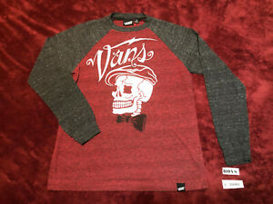 VANS Boys size S - SMALL Long Sleeve T-Shirt Red - Gray Sleeves