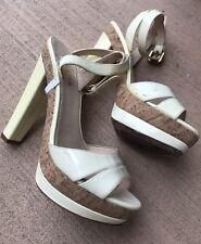 Prada Light Yellow Patent Leather Cork Block Heel Platform Sandals SZ 36.5