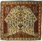 Vintage Tribal Cream Extra Fine 1'4X1'4 Hand-Knotted Oriental Rug Square Carpet
