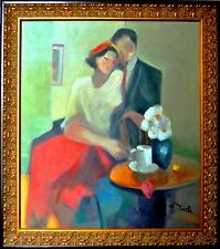 GHOLAM YUNESSI-Love and Flowers-Framed ORIGINAL Oil Painting/Canvas/Signed/COA