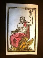 Giove o Zeus Dio Dei Settecentina acquerellata a mano del 1785 Andre Declaustre