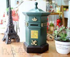 Retro Green Post Office Pillar Box Mail Box Home Decor Piggy Bank Money Box Wood