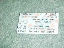 2004 Detroit Tigers v Montreal Expos Spring Training Baseball Ticket 3/4
