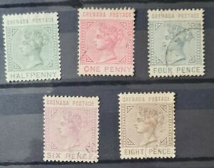 Grenada 1883 set SG30/35 excl 2.5c FU & MM alb 2