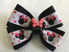 """Girls Hair Bow 4"""" Wide Minnie Mouse Pink Hearts Black Ribbon Alligator Clip"""