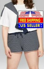 *WOMENS PLUS 4X WILD FABLE STRIPED HIGH-RISE TERRY CLOTH SHORTS, BLUE