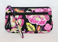 VERA BRADLEY Front Zip Wristlet Purse Wallet Moon Blooms Black & Multi Floral