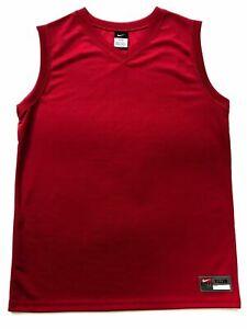 NIKE BASKETBALL T-SHIRT RED KIDS JERSEY SLEEVELESS OFFICIAL NEW