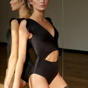 NWT Free People Streamline Bodysuit Black perfect for dancing moving.size M