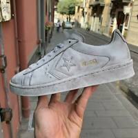 Converse All Star PRO LEATHER bianca in pelle LIMITED EDITION effetto sporco wax
