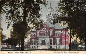 H68/ Hampton Iowa Postcard c1910 Court House Building  5