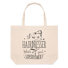 I'm A Hairdresser What's Your Superpower Large Beach Tote Bag - Funny Shoulder