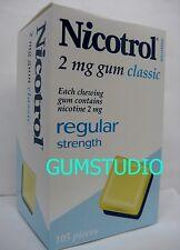 Nicotrol Nicotine Gum 2mg CLASSIC Fresh 1 Box or More 105 pieces