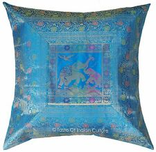 "Turquoise Blue 26"" Large Cushion Cover Silk Brocade Elephant Floor Pillow Throw"