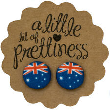 Aussie Australia Day Flag Fabric Covered Button Stud Earrings Surgical Steel