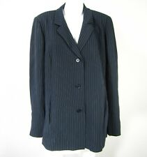 Marina Rinaldi Basic Long Sleeve Blazer Size 31 made in Italy Blue Pin Striped