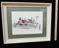 Mid Century Frame Wood Curved Wide Molding Matted Watercolor Fishing Boat Shacks