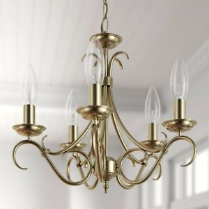 """THREE POSTS """" BARNEY"""" 5 LIGHT CANDLE STYLE CHANDELIER / ANTIQUE BRASS"""